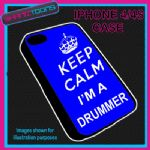 FITS IPHONE 4 / 4S PHONE KEEP CALM IM A  DRUMMER PLASTIC COVER COOL GIFT BLUE
